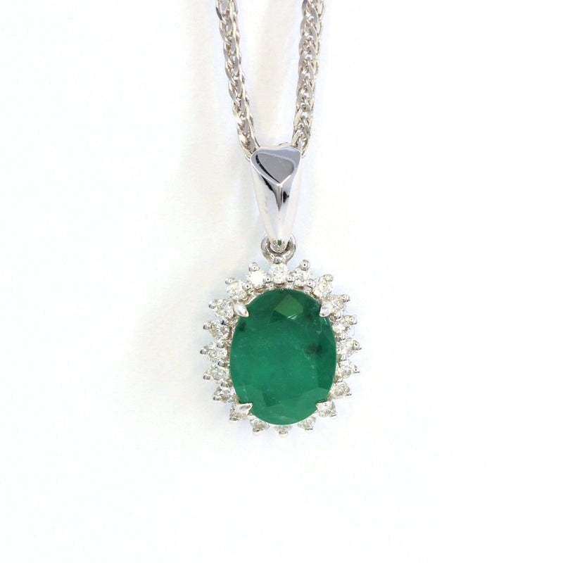 18K White Gold Emerald & 1/6 CTW Diamond Pendant Necklace
