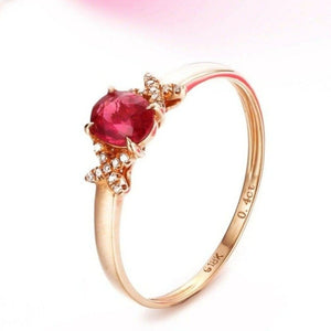 18k Rose Gold & Natural A Ruby ( 2/5 ct )Ring With Diamonds