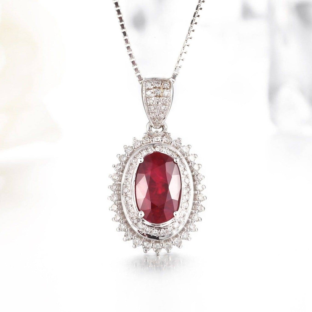 18k White Gold & Genuine AA Oval Ruby Halo Pendant Necklace Baikalla Jewelry