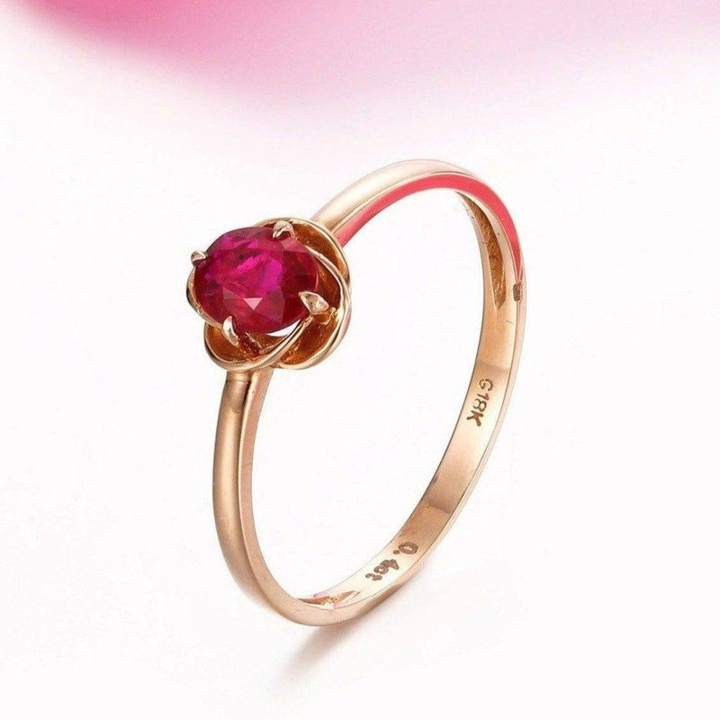 18k Rose Gold & Natural Ruby Ring with Diamonds