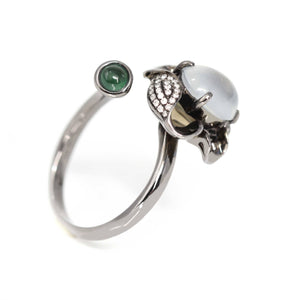 18k Black Gold Natural 3.5ct cabochon Ice Jadeite Engagement Ring With Diamonds