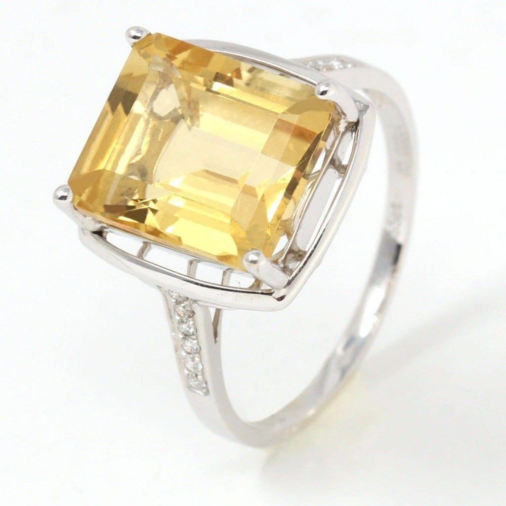18k White Gold Natural Emerald Cut Citrine Ring W/ Diamonds Baikalla Jewelry
