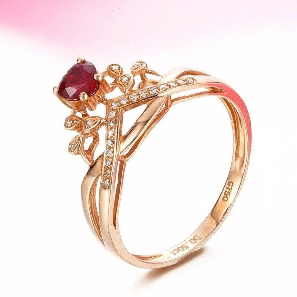 Baikalla™  18k Rose Gold & Natural A Ruby ( 1/2 ct ) Ring With Diamonds