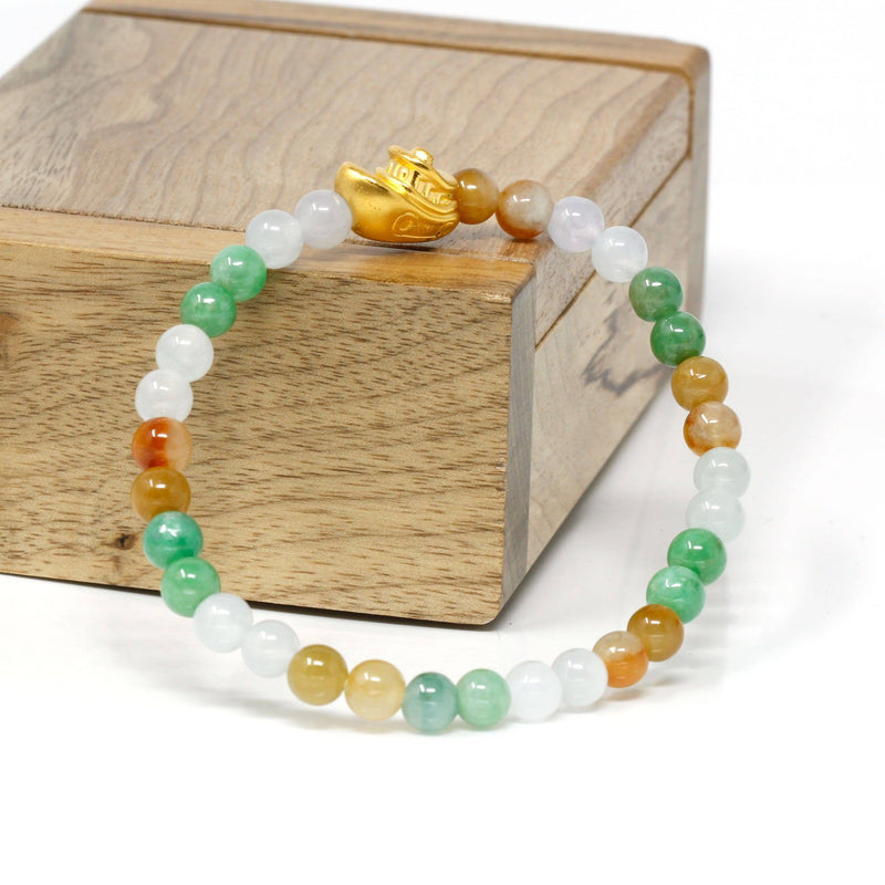 Genuine High-quality Jade Jadeite Bracelet Bangle with 24k Yellow Gold Boat Charm Colorful  #416