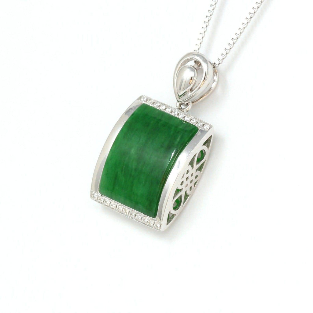 18k White Gold Genuine Burmese Jadeite RuYi Pendant Necklace With Diamond Baikalla Jewelry