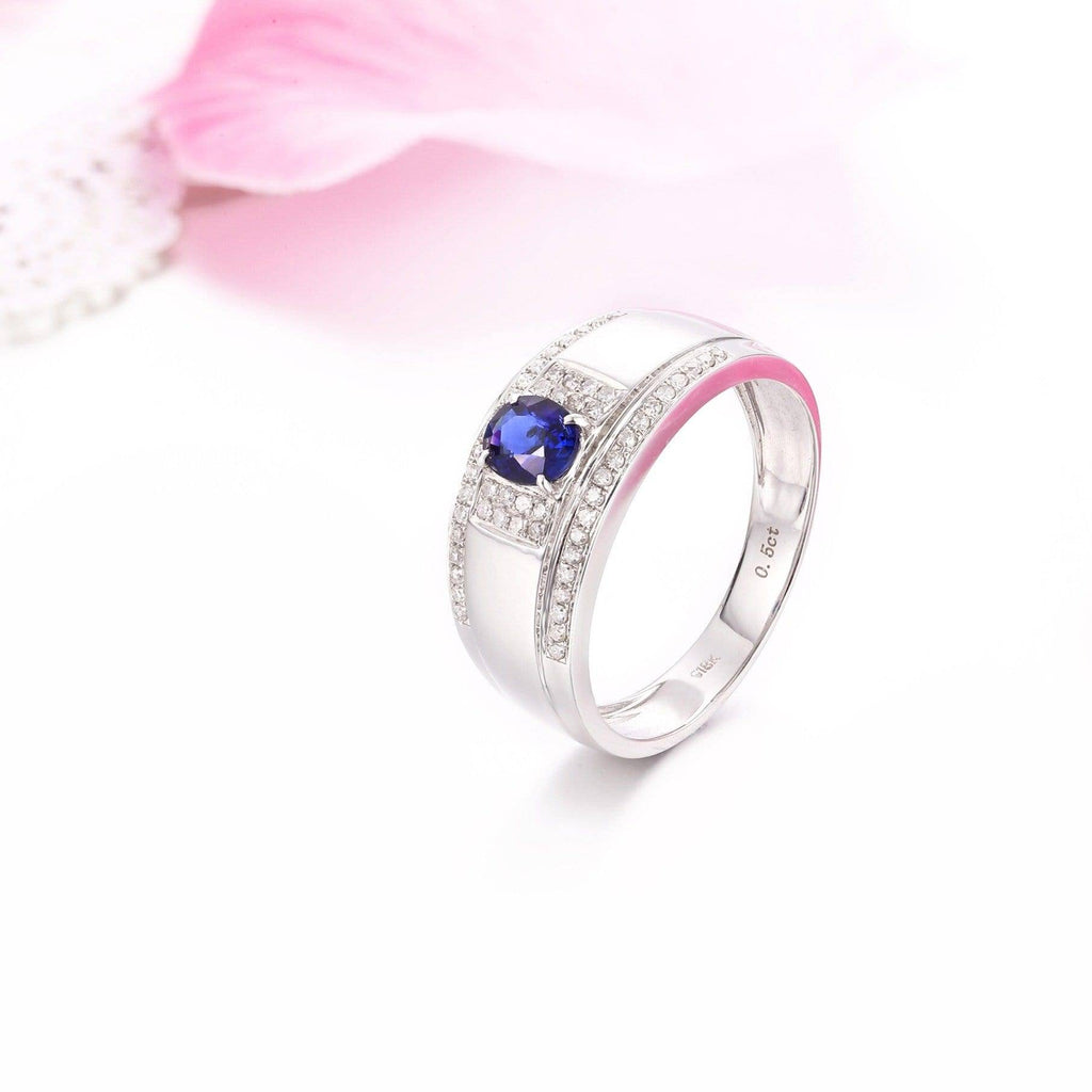 18k White Gold Natural 0.5 ct Sapphire Men's Halo Ring with Diamonds