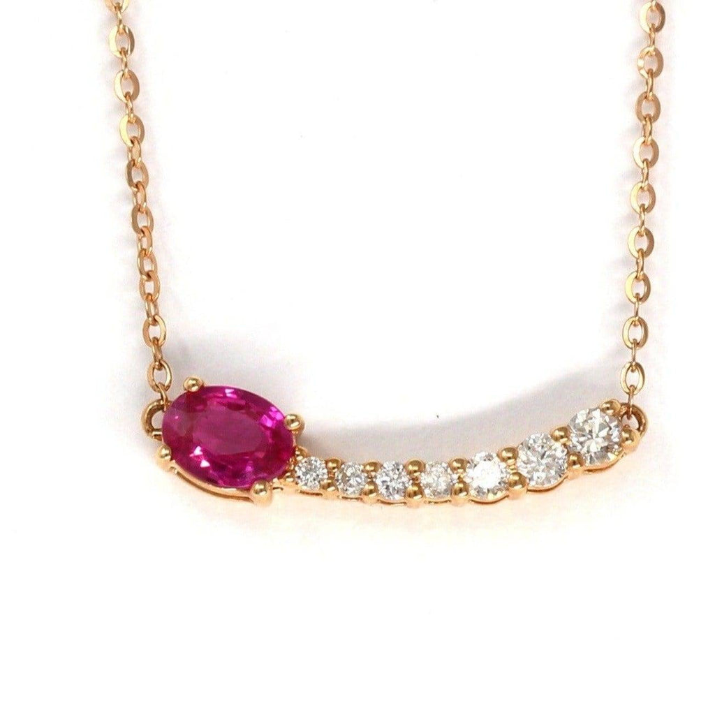 "Baikalla™ ""Shooting Star"" 18K Rose Gold & Ruby Shooting Star .14 CTW Diamond Pendant Necklace"