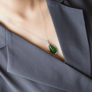 "Baikalla™ ""Classic Tear-Drop"" Sterling Silver Real Green Jade Classic Tear Drop Pendant Necklace"