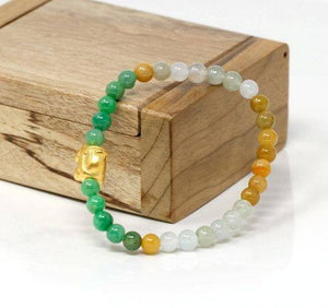 Genuine High-quality Jade Jadeite Bracelet Bangle with 24k Yellow Gold Car Charm Colorful  #430