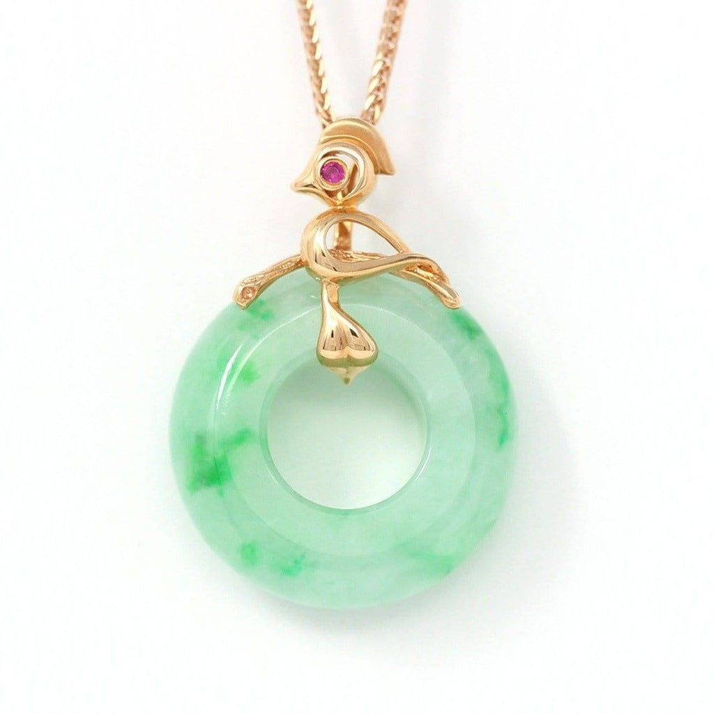 18k Rose Gold Genuine Burmese Jadeite Lucky Pendant Necklace With AA Ruby Baikalla Jewelry