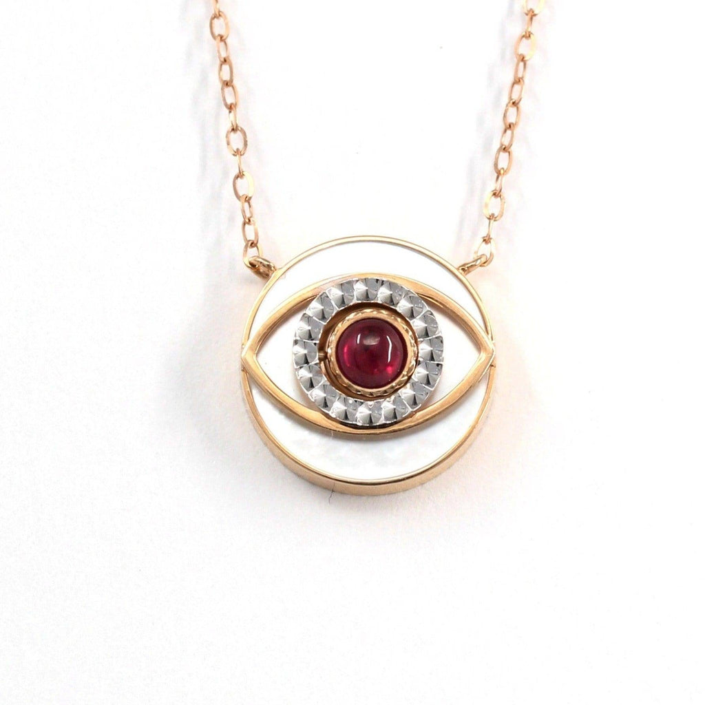 18K Rose Gold & Ruby Diamond Evil Eye Pendant Necklace (2 in 1) Baikalla Jewelry