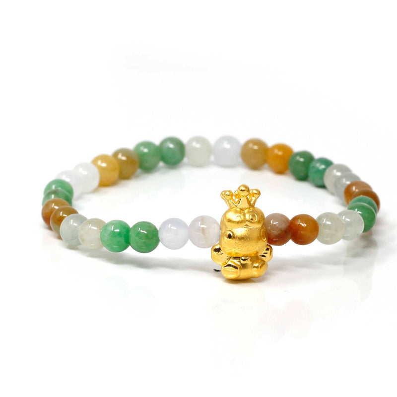 Genuine High-quality Jade Jadeite Bracelet Bangle with 24k Yellow Gold Frog Charm Colorful #421