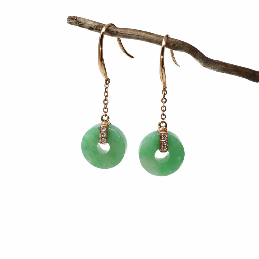18K Royal Rose Gold Genuine Jade Jadeite Lucky Nuts Drop Earrings #GJ116