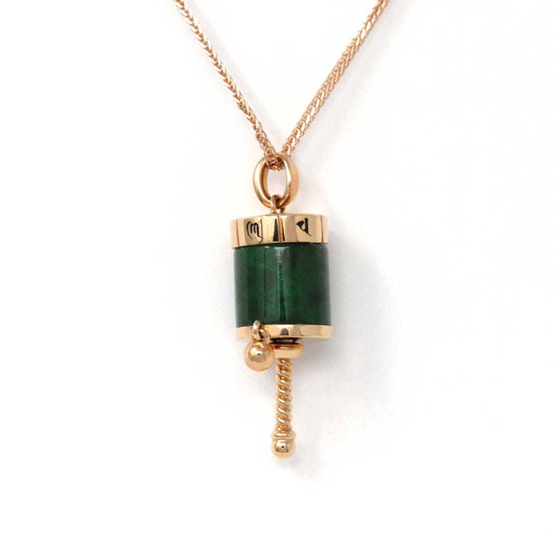 18k Rose Gold Genuine Burmese Jadeite Jade Pendant Necklace - Buddha Dharma