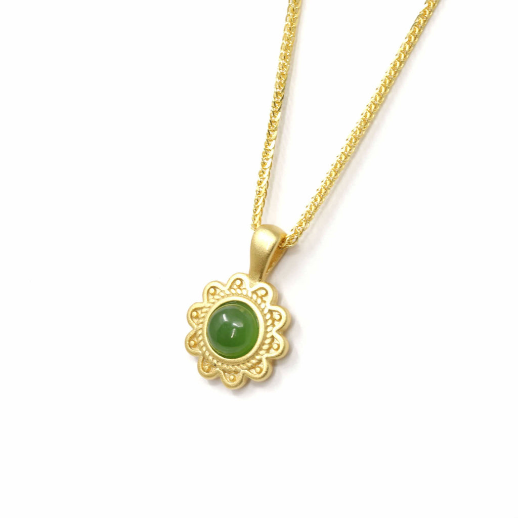 "Baikalla™ ""Sunflower"" Sterling Silver Nephrite Green Jade Classic Sun Flower Pendant Necklace"