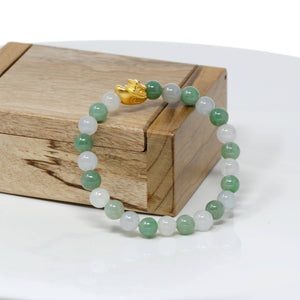 Genuine High-quality Jade Jadeite Bracelet Bangle with 24k Yellow Gold Boat Charm #415