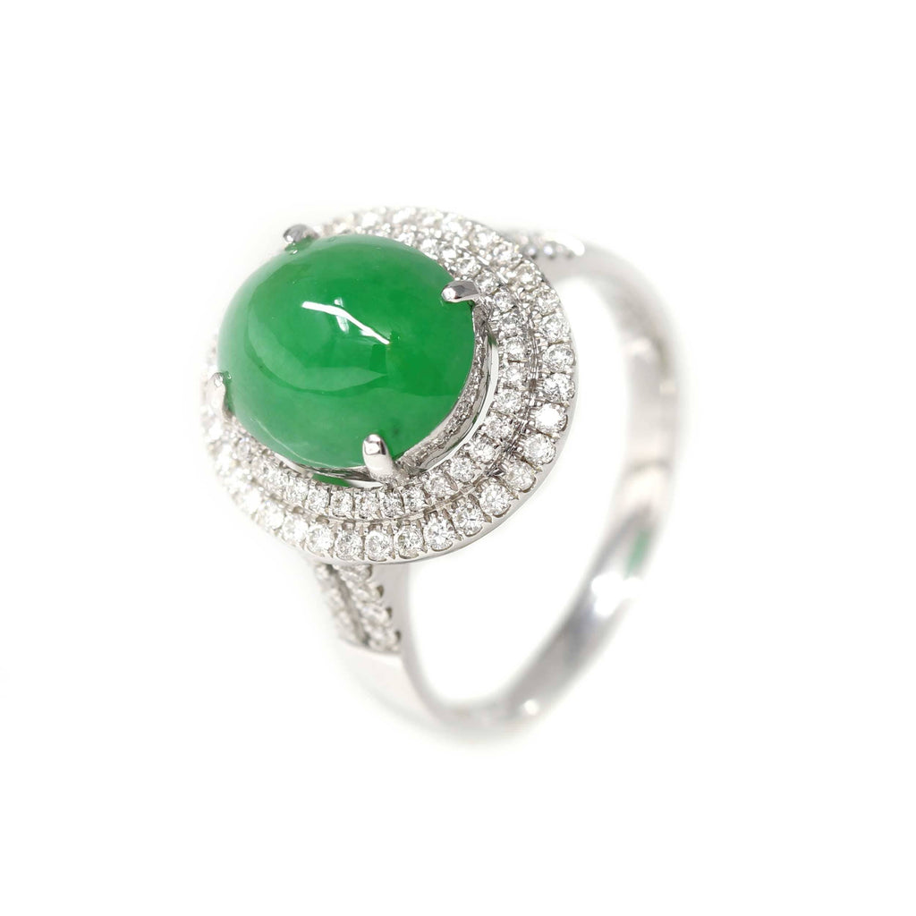 Luxury Imperial Jade Engagement Ring