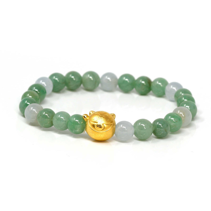 Genuine High-quality Jade Jadeite Bracelet Bangle with 24k Yellow Gold Cat Charm #414