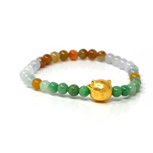 Genuine High-quality Jade Jadeite Colorful Bracelet Bangle with 24k Yellow Gold Cat Charm #413