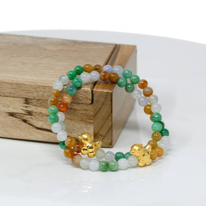 Genuine High-quality Jade Jadeite Bracelet Bangle with 24k Yellow Gold Chicken Charm Colorful #425