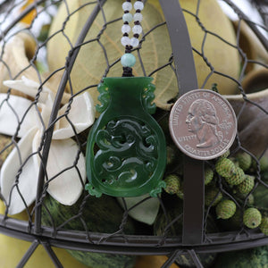 Genuine HeTian Nephrite Green Jade Good Luck Vase Pendant Necklace With Dragon