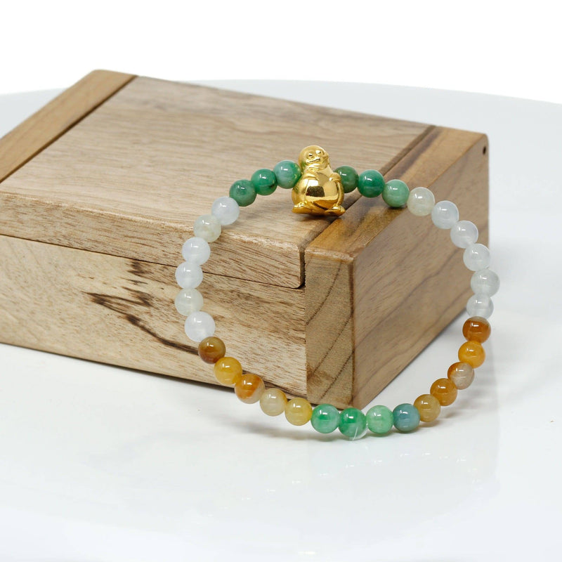 Genuine High-quality Jade Jadeite Bracelet Bangle with 24k Yellow Gold Penguin Charm Colorful  #409