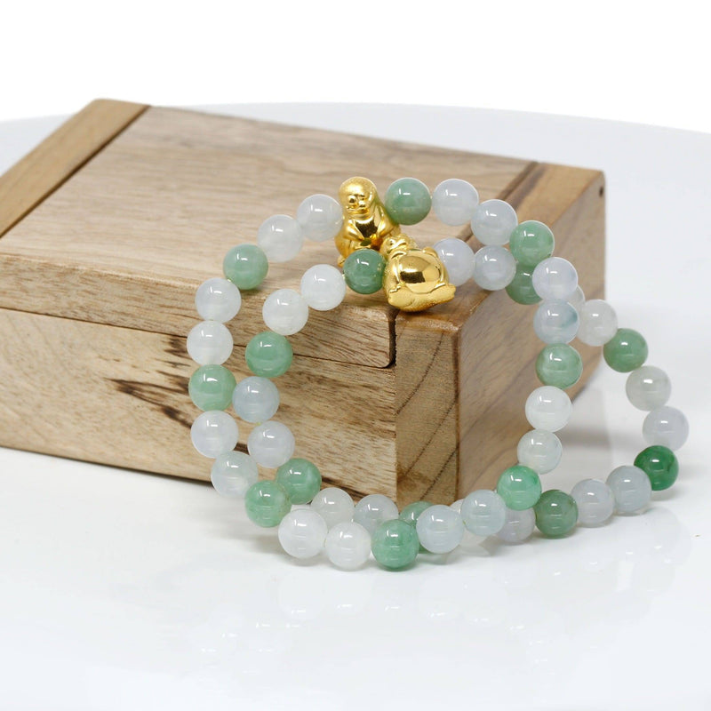 Genuine High-quality Jade Jadeite Bracelet Bangle with 24k Yellow Gold Penguin Charm #410