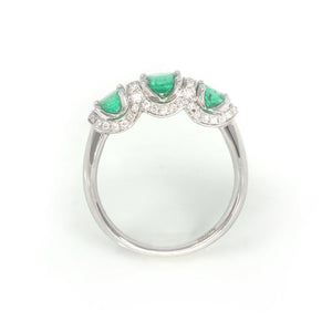 18k White Gold Genuine Oval Emerald Diamonds 3-Stone Ring