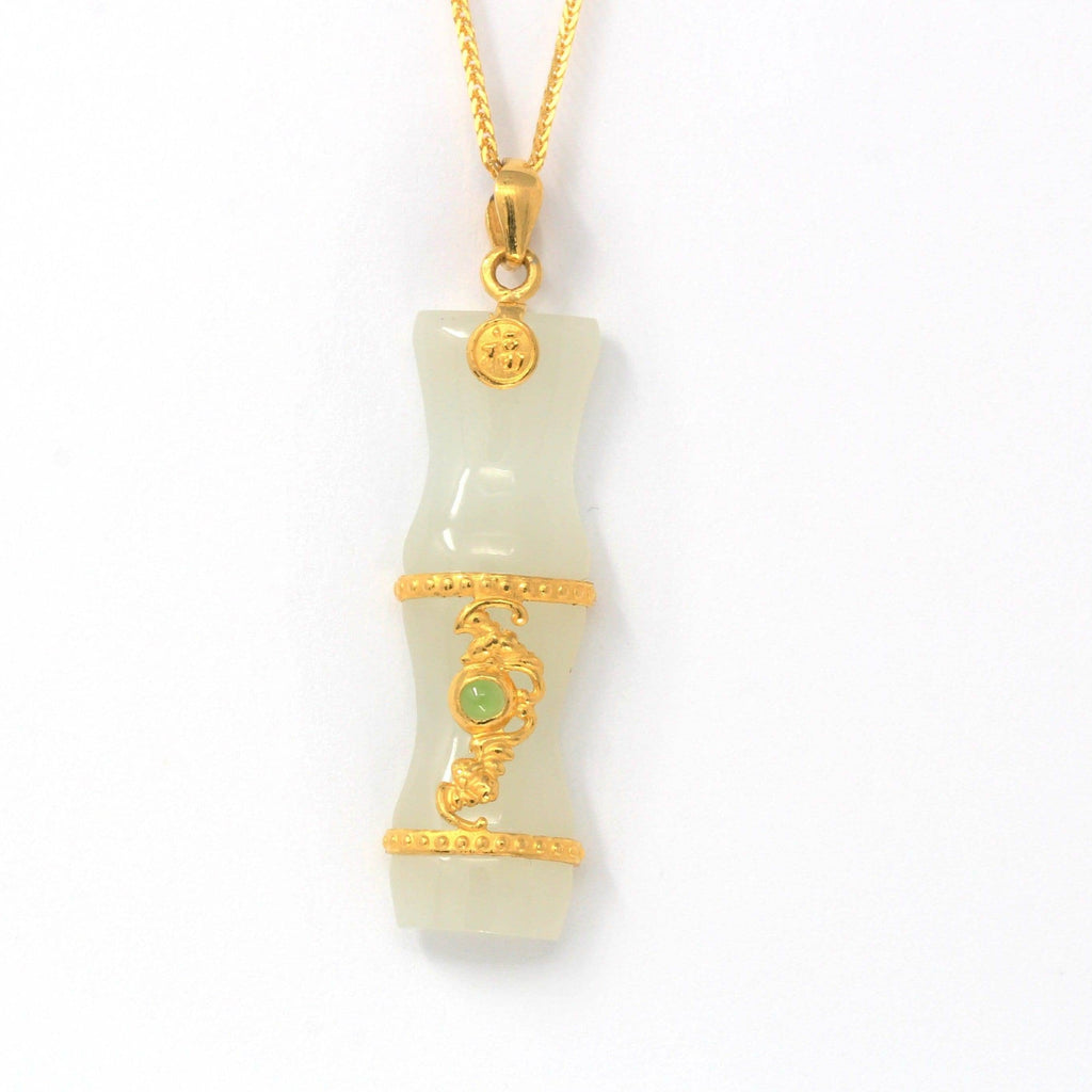 24k Yellow Solid Gold Genuine Nephrite White & Green Jade Bamboo Pendant Necklace