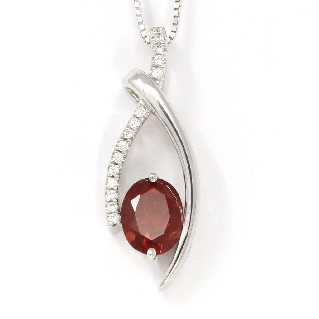 Sterling Silver Natural Red Oregon Sunstone Necklace With White Sapphire