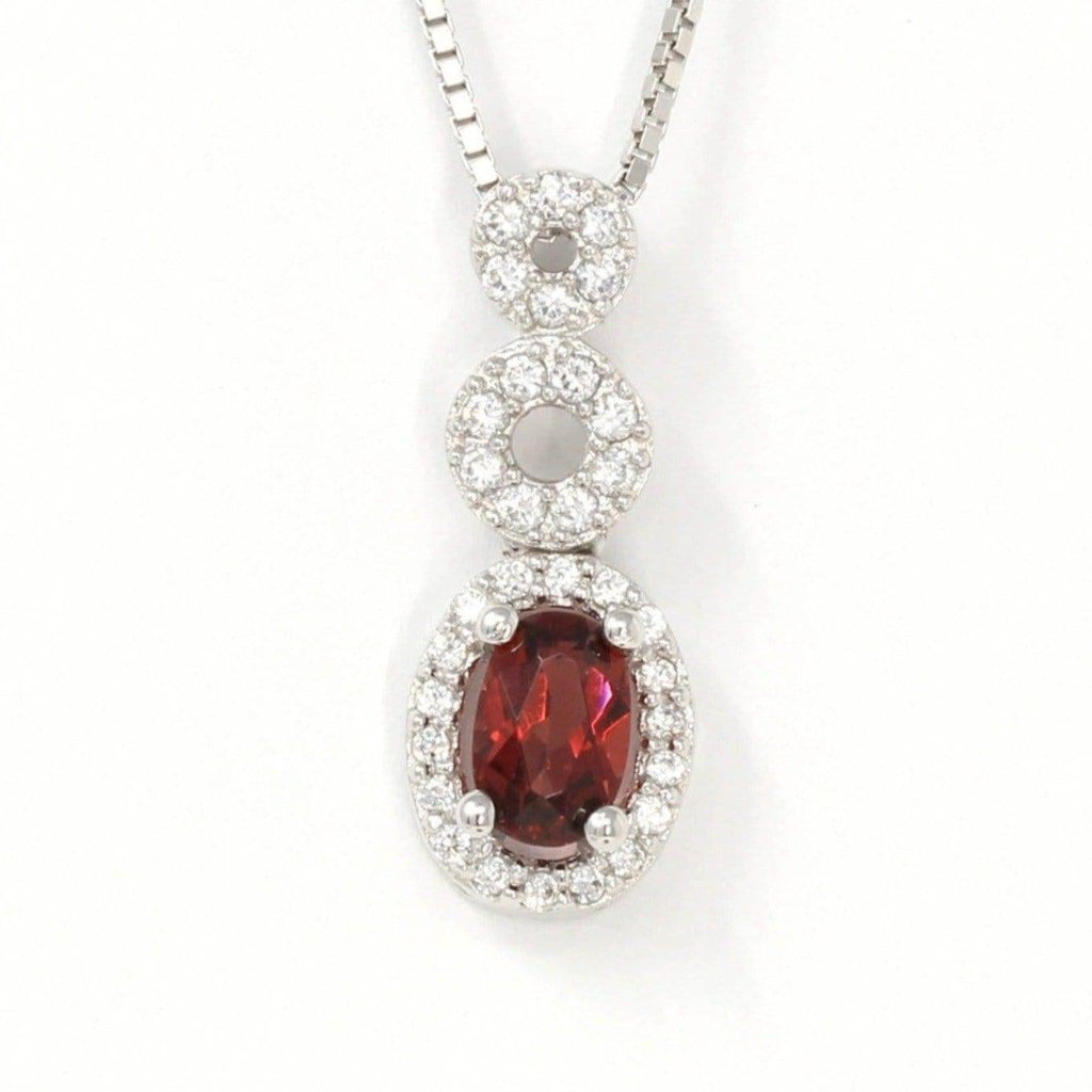 Sterling Silver Natural Oval Garnet Necklace With CZ