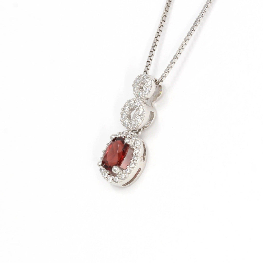 Sterling Silver Natural Garnet Necklace With CZ