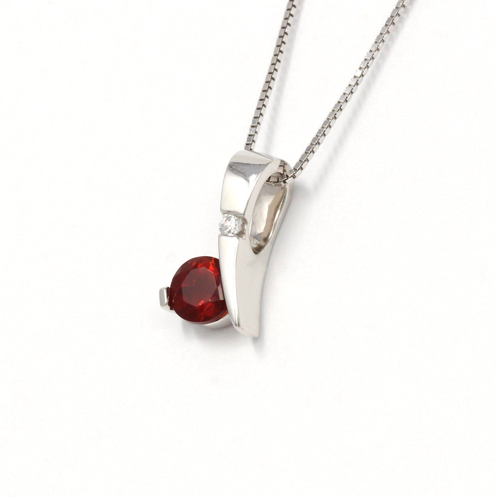 Sterling Silver Red Ponderosa Sunstone Necklace With Bezel Set white Sapphire