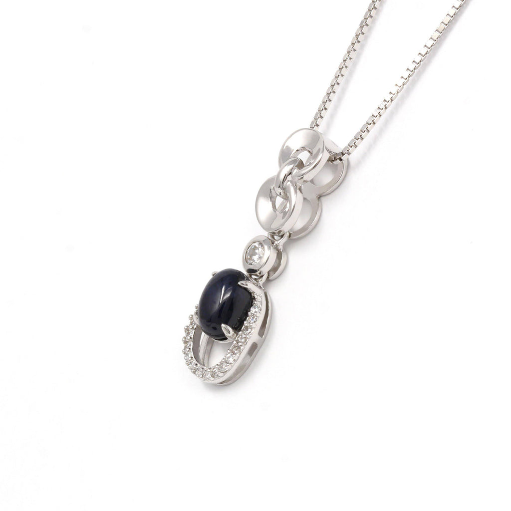 Sterling Silver Natural Sapphire Necklace With CZ