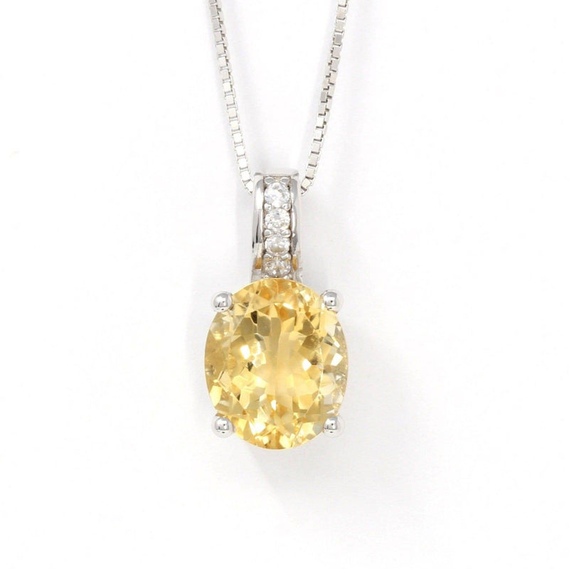 Sterling Silver Natural Cushion Cut Citrine Necklace With CZ