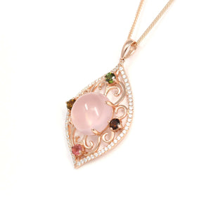 Sterling Silver Natural Cabochon Rose Quartz Tourmaline Necklace With CZ