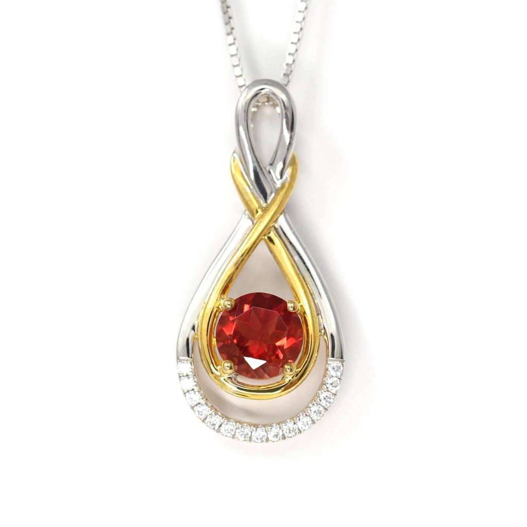 Sterling Silver Natural Ponderosa Sunstone Necklace With White Sapphire(Two Tone )
