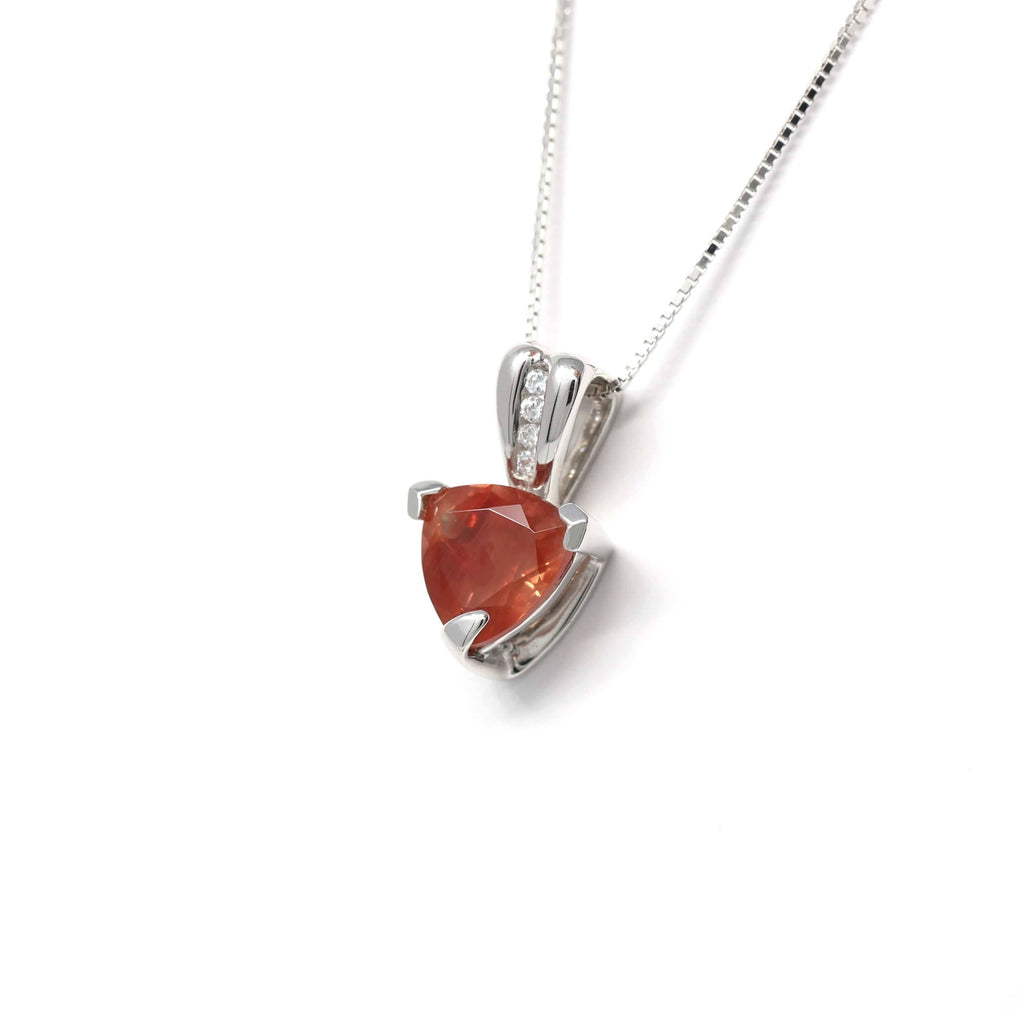 Sterling Silver Natural Ponderosa Sunstone Necklace With White Sapphire