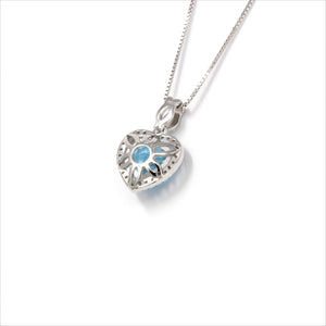 Sterling Silver Natural Topaz Love Heart Pendant Necklace With CZ