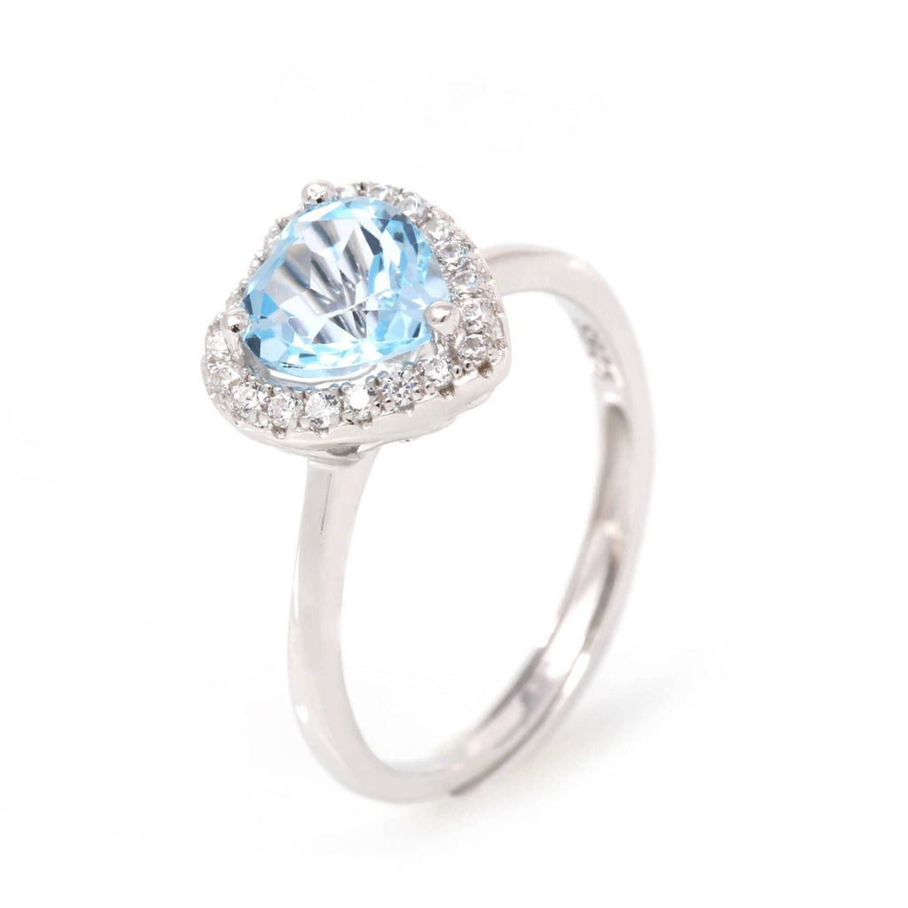 Baikalla™ Sterling Silver Natural Sky Blue Heart Topaz Ring
