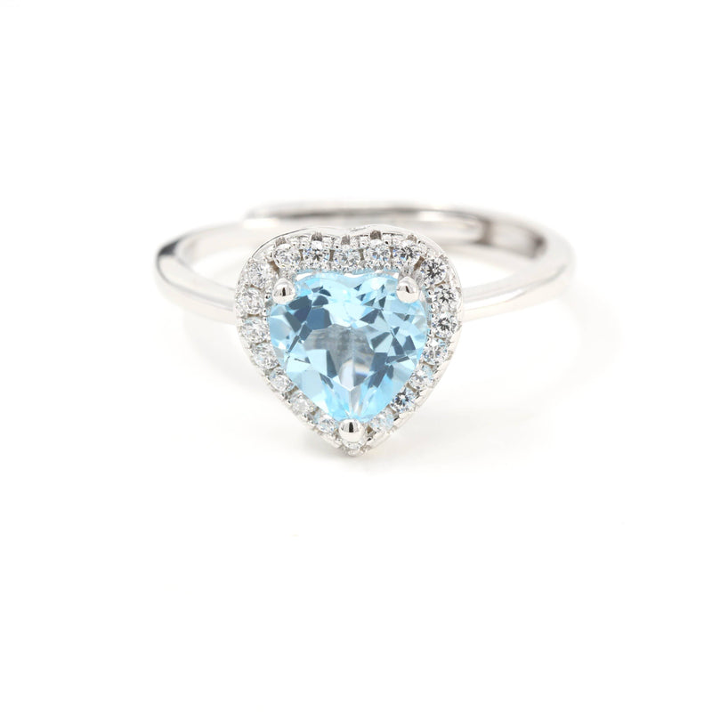 Sterling Silver Natural Sky Blue Heart Topaz Ring