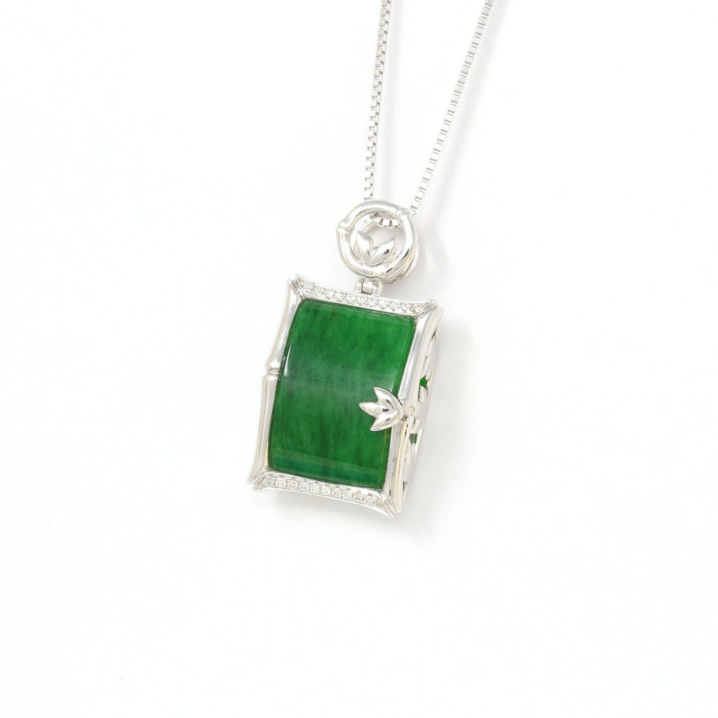 18k White Gold Genuine Burmese Jadeite Bamboo Pendant Necklace With Diamond