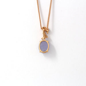 18k Rose Gold Genuine Burmese Lavender Jadeite  Pendant Necklace With Diamond
