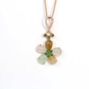 18k Rose Gold Genuine Mixed Color Burmese Jadeite Lucky Flower Necklace