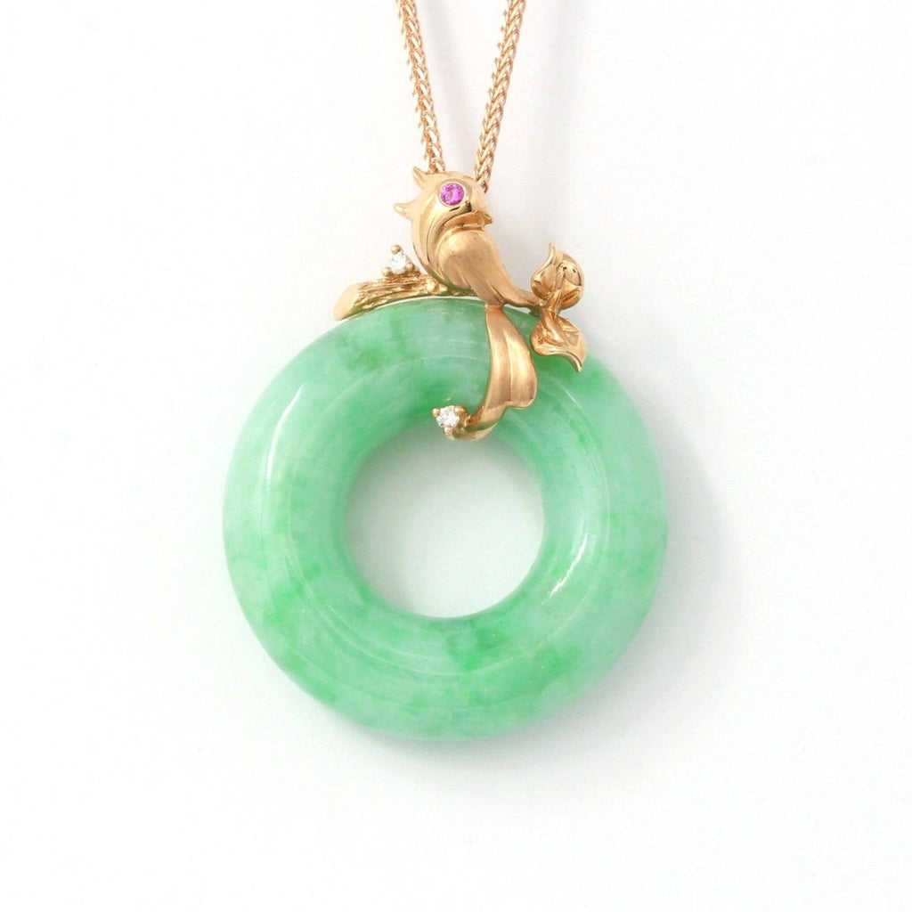 18k Rose Gold Genuine Burmese Jadeite Lucky Pendant Necklace With AA Ruby