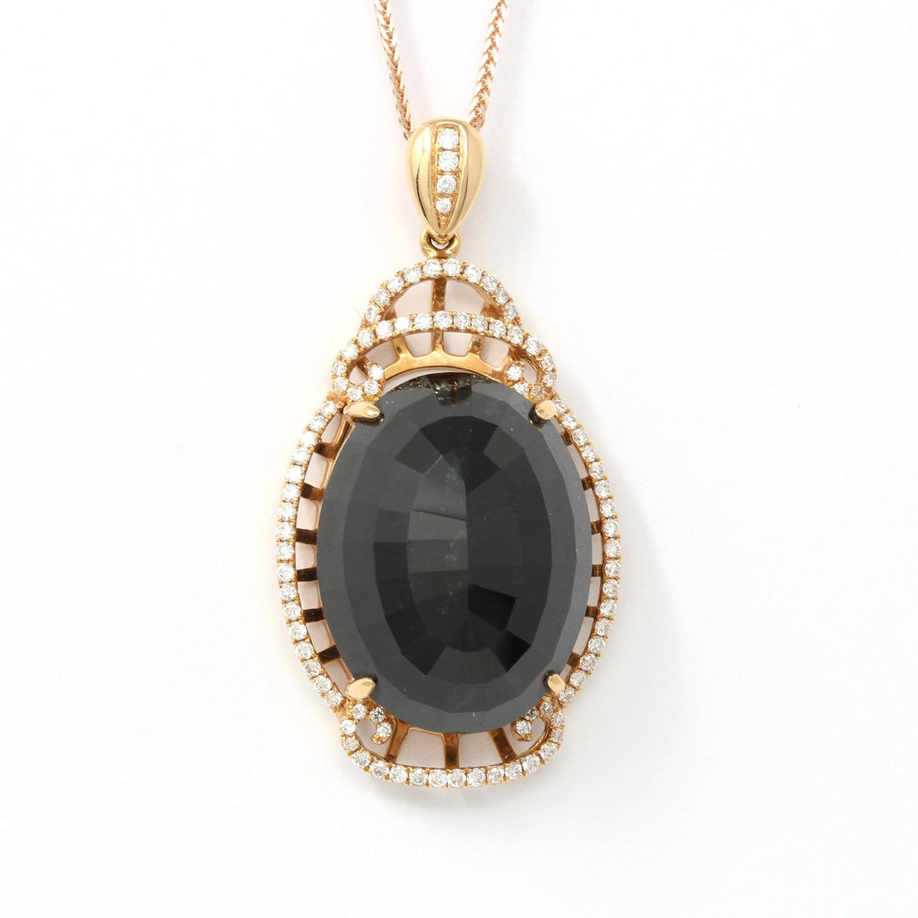 18K Rose Gold Genuine Burmese Black Jadeite Pendant Necklace