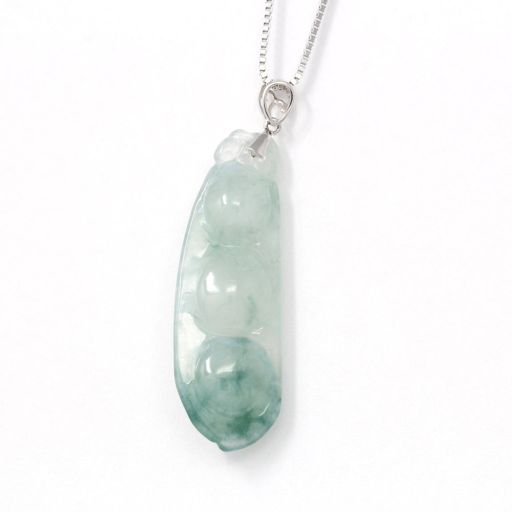 Genuine Burmese Ice Blue Jadeite Pendant with 18k White Gold Bail
