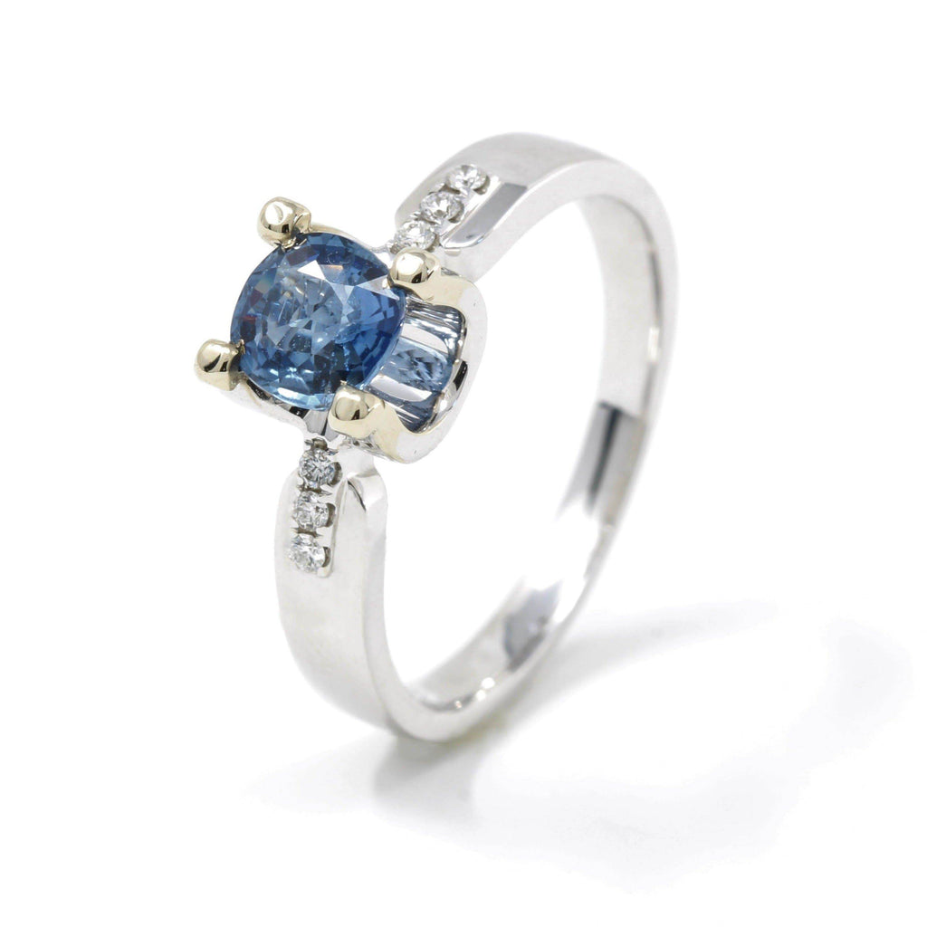 18k White Gold Natural Blue Sapphire Ring Baikalla Jewelry