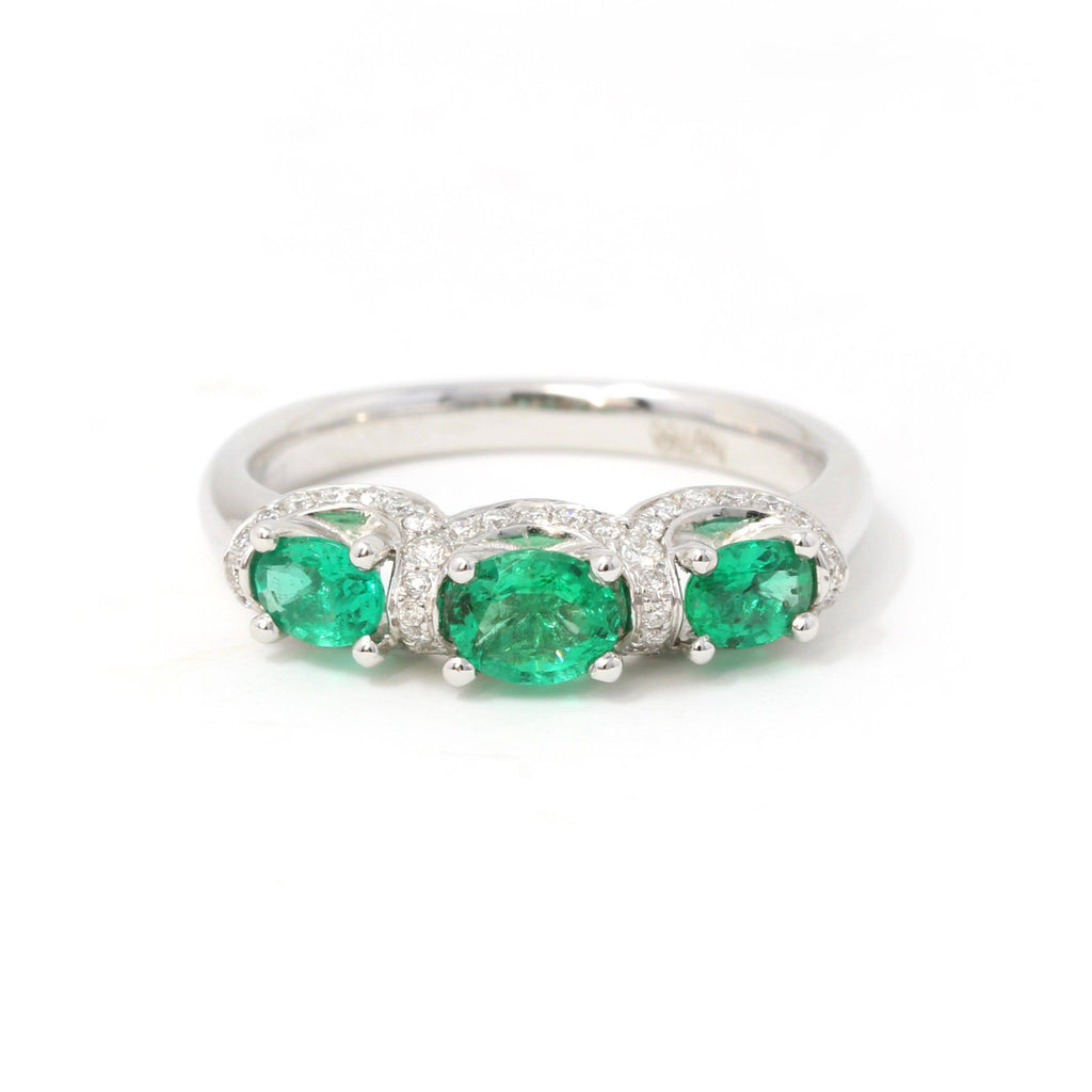 18k White Gold Genuine Oval Emerald Diamonds 3-Stone Ring Baikalla Jewelry