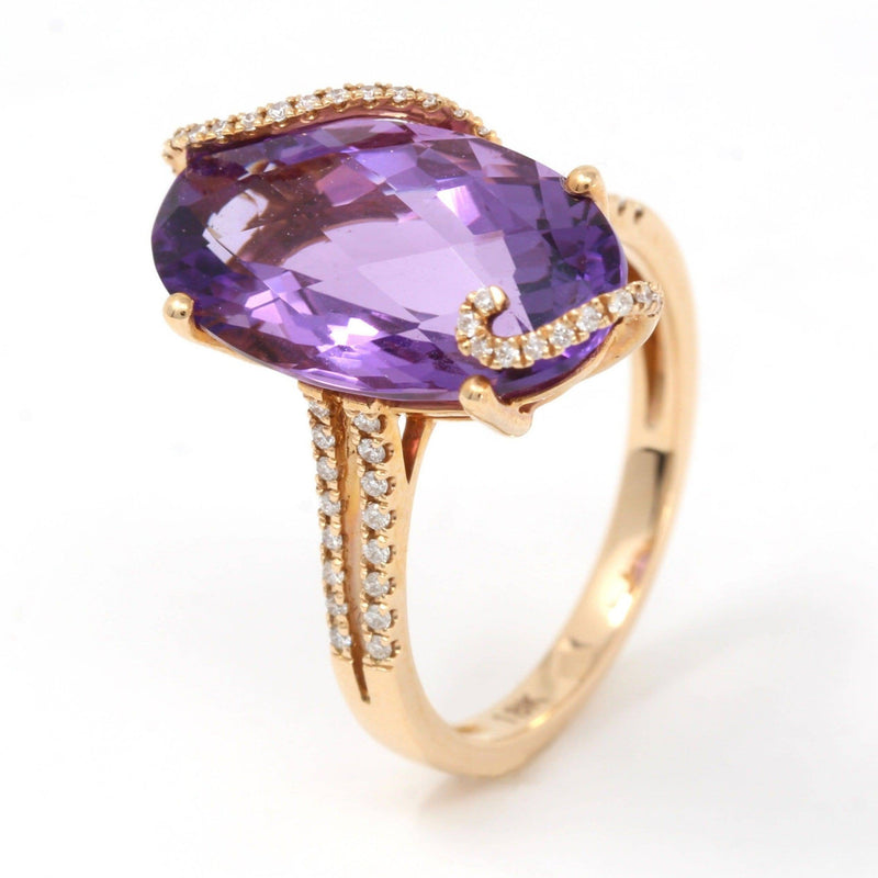 18k Rose Gold Genuine Marquise Amethyst Ring with Diamonds Halo Baikalla Jewelry